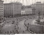 1935 View of Southwest Quadrant of Monument Circle in Indianapolis
