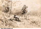 William Forsyth Sketch, Horse and Rider in Field